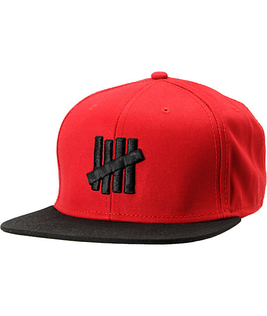 9a0889b12 Undefeated Five Strike Red & Black Snapback Hat