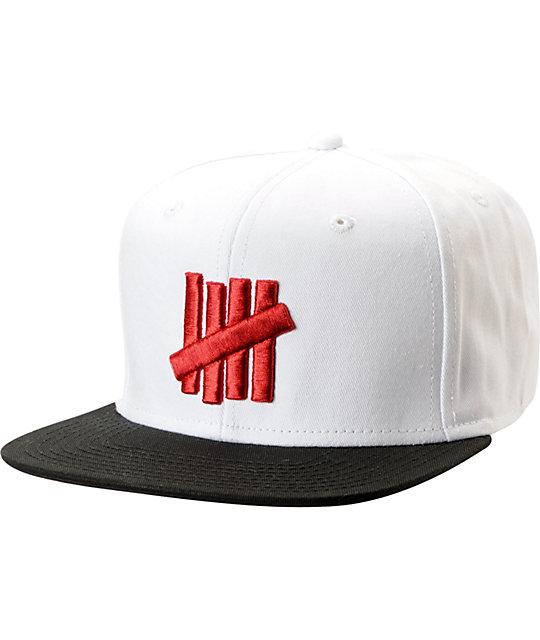 830a3e56e85 Undefeated Five Strike White   Black 2-Tone Snapback Hat