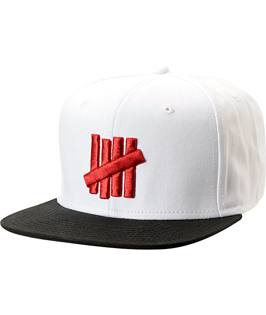 49f69faf4 Undefeated Five Strike White & Black 2-Tone Snapback Hat | Zumiez