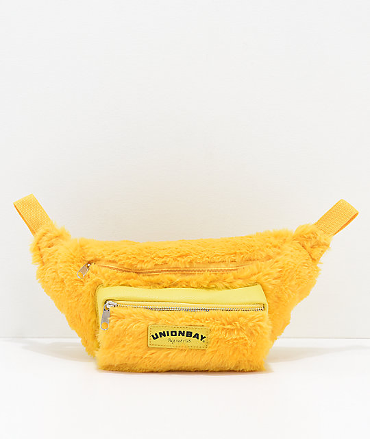 Union Bay Yellow Fur Fanny Pack