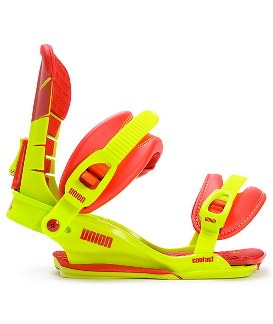 Union Contact Green & Red Snowboard Bindings