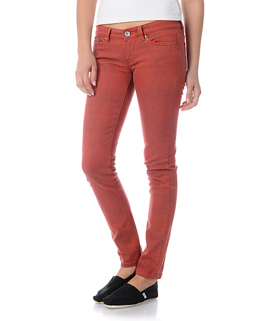 Unionbay Cayenne Pepper Python Red Skinny Jeans