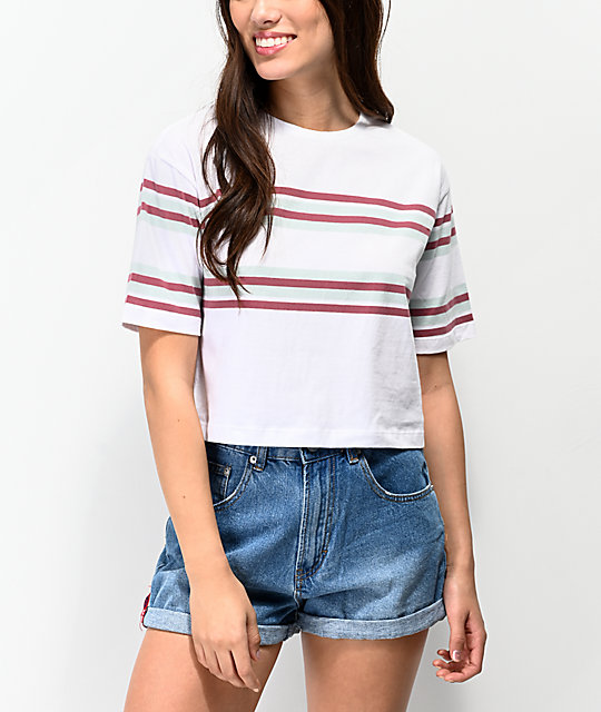 Unionbay Jane Stripe White Crop T-Shirt