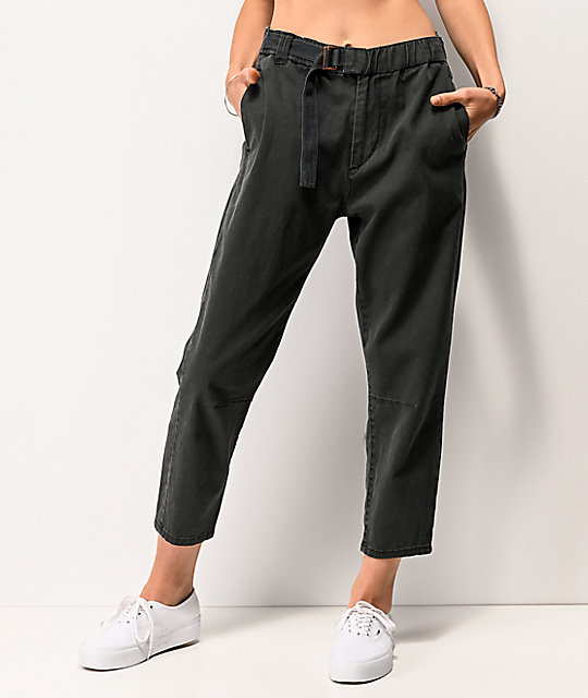 unionbay-sharon-grey-belted-elastic-waist-pants by unionbay