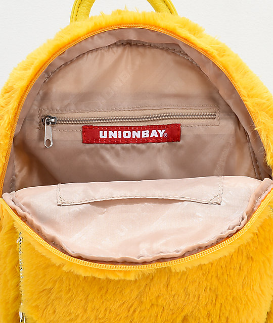 Unionbay Yellow Fur Mini Backpack