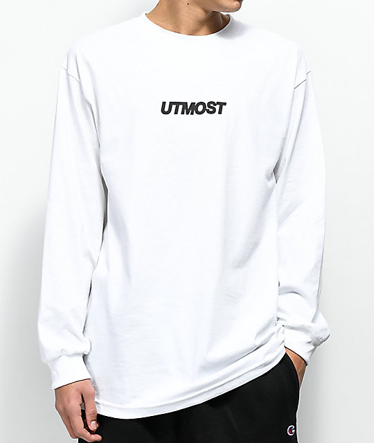 Utmost Co. Logo camiseta blanca de manga larga