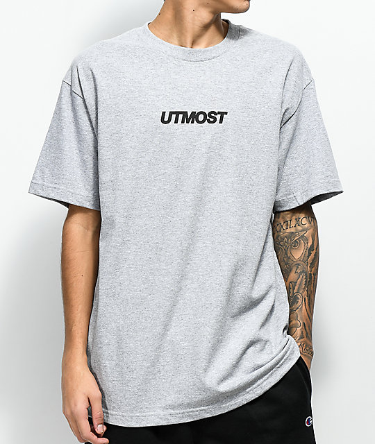 Utmost Co. Solid Logo camiseta gris jaspeada