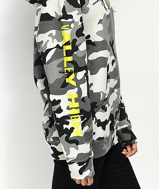 Vally High 90s Grey Camo Hoodie