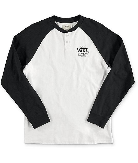 06589db685 Vans Boys Denton White   Black Long Sleeve T-Shirt