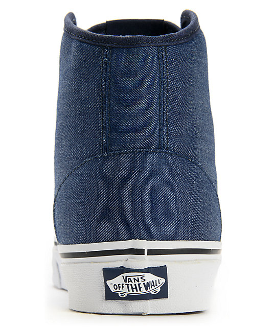 Vans 106 Hi Chambray Navy Skate Shoes