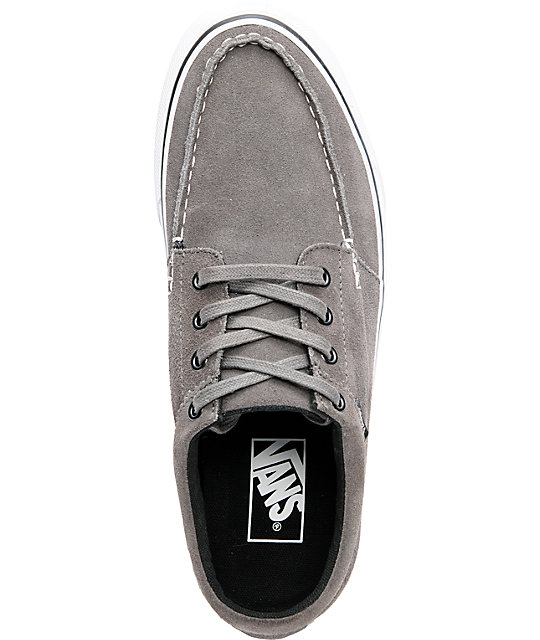 ... Vans 106 Moc Pewter Suede   White Skate Shoes ... 17f5b6a25