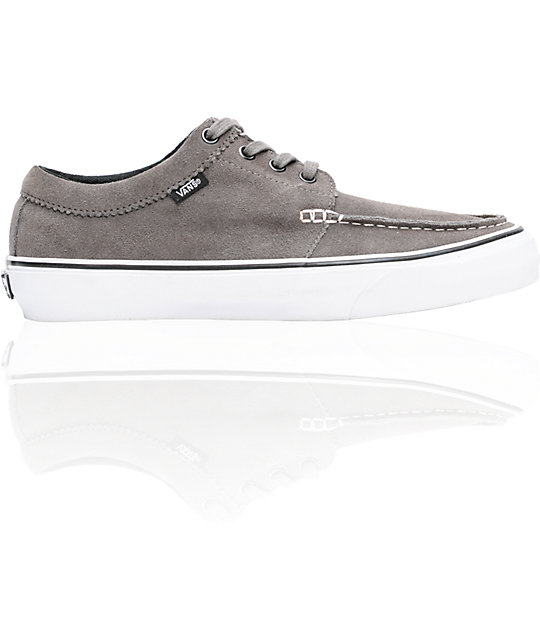 Vans 106 Moc Pewter Suede   White Skate Shoes  d56a449ac