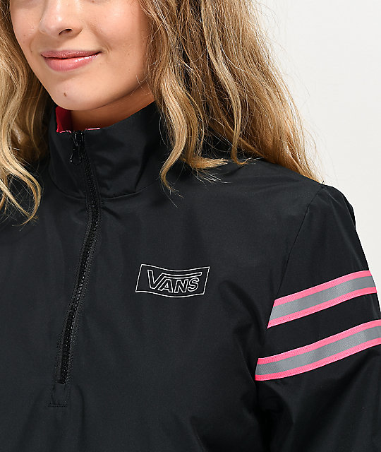 Vans After Dark Black Half-Zip Windbreaker Jacket