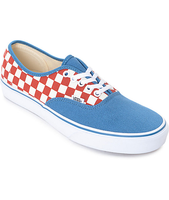 792d9c2827 Vans Authentic 50th Checkerboard   Blue Ashes Skate Shoes