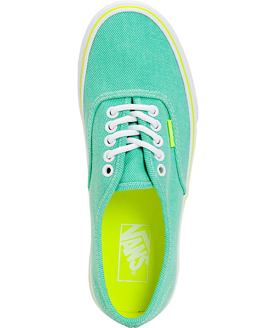 ... Vans Authentic Aqua Green   Yellow Washed Twill Shoes ... cd17df6c5