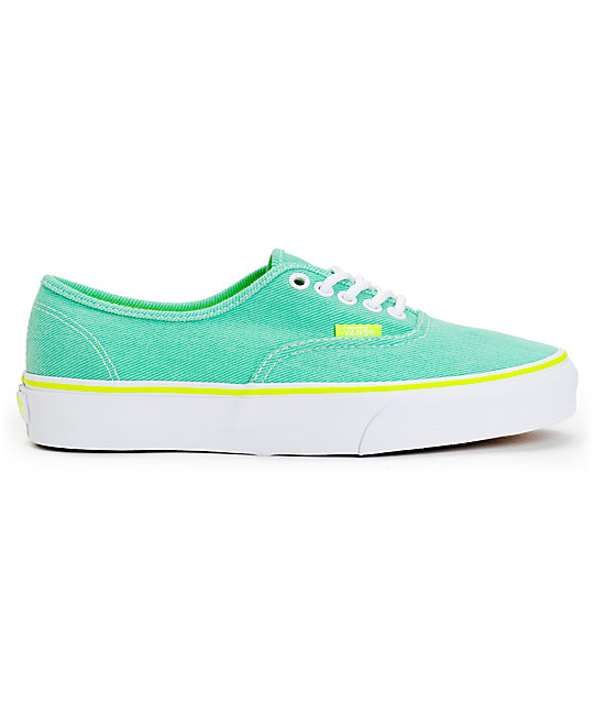 ... Vans Authentic Aqua Green   Yellow Washed Twill Shoes 12d19ca09