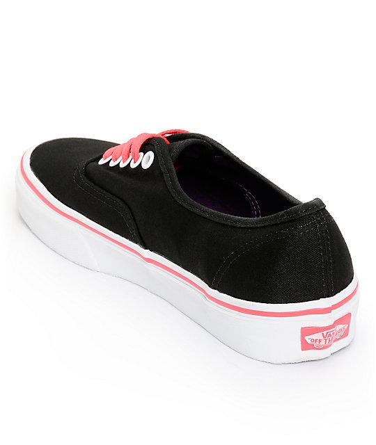 ac393c48d8 ... Vans Authentic Black   Neon Red Shoes ...