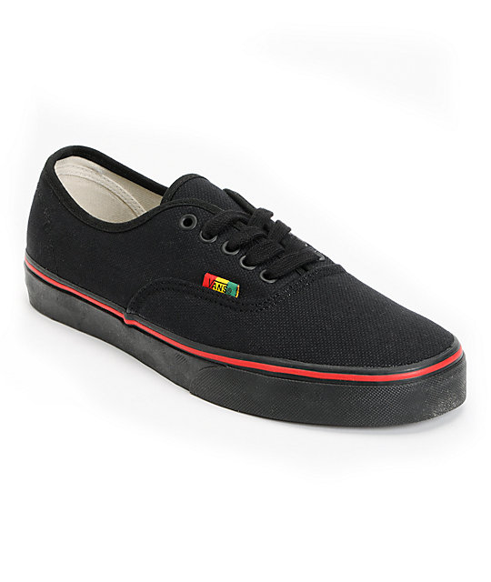 6ee6b50b72 Vans Authentic Black   Rasta Hemp Skate Shoes