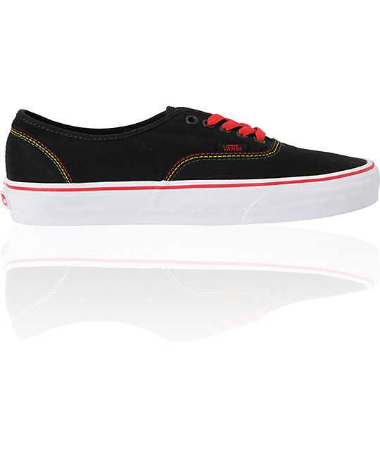 Vans Authentic Black & Rasta Skate Shoes
