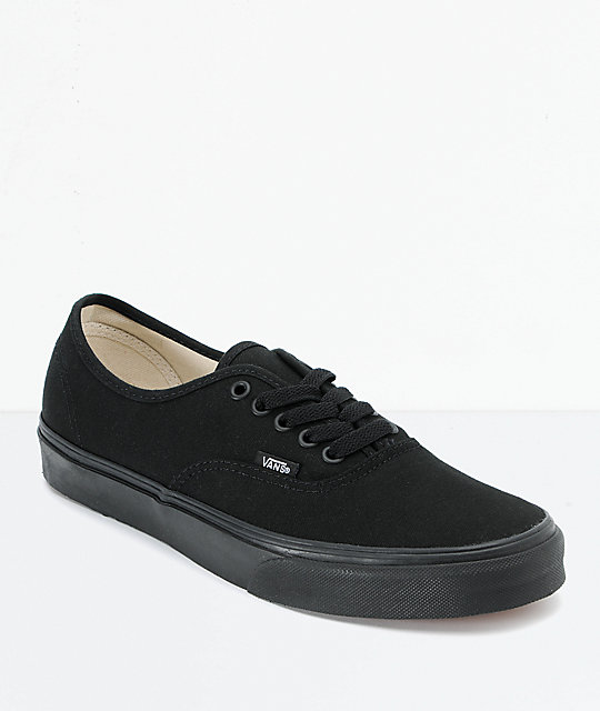 c0f2b4af60828 Vans Authentic Black Canvas Skate Shoes