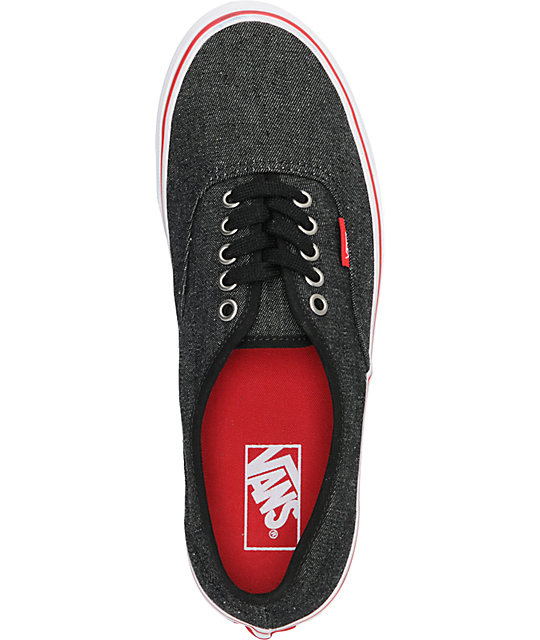 Vans Authentic Black Denim & Red Skate Shoes