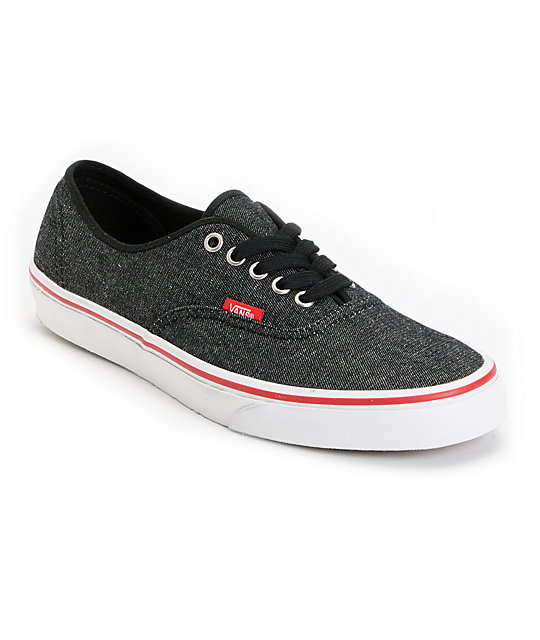 6f7baefd824a Vans Authentic Black Denim   Red Skate Shoes