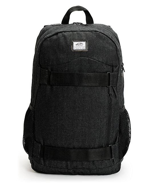 d0bb00be40b Vans Authentic Black Denim Skateboard Backpack | Zumiez
