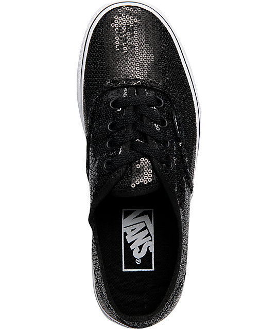 Vans Authentic Black Glitter Lace Up Shoes