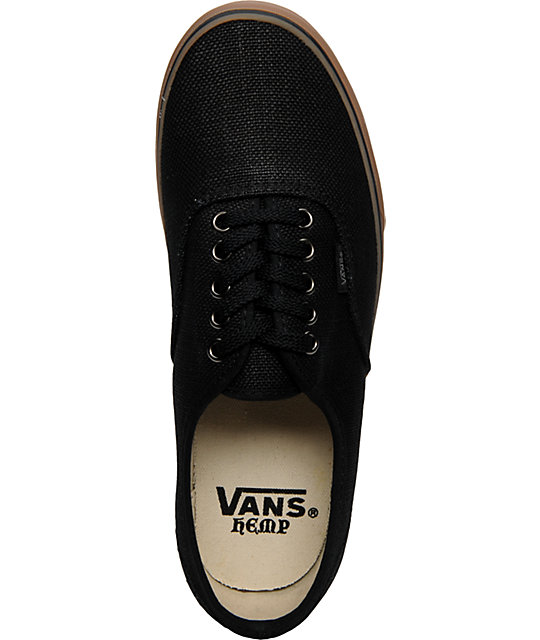 aefc4ce0b3 ... Vans Authentic Black Hemp   Gum Skate Shoes ...