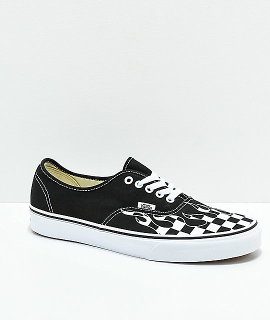 Vans Authentic Checkerboard Flame Black   White Skate Shoes  be34aba58af