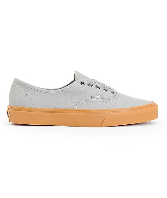 ... Vans Authentic Frost Grey   Gum Canvas Skate Shoes 0de6a5480