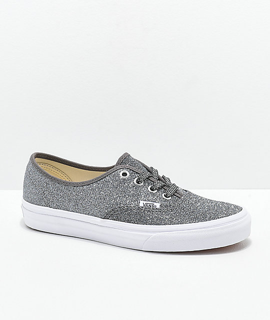 57b90bbfa145 Vans Authentic Glitter Black   White Skate Shoes