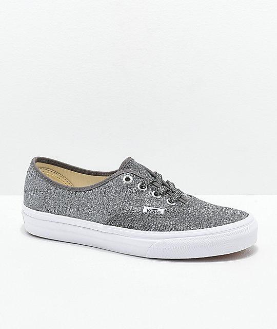 Vans Authentic Glitter Black & White Skate Shoes