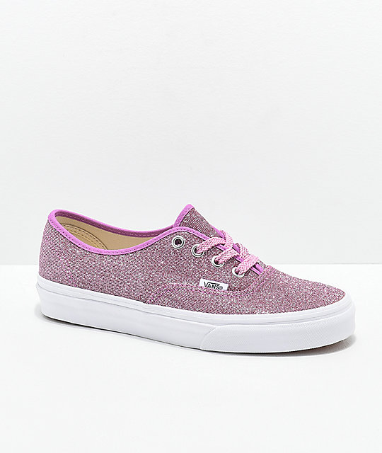 bd75868de1 Vans Authentic Glitter Pink   White Skate Shoes