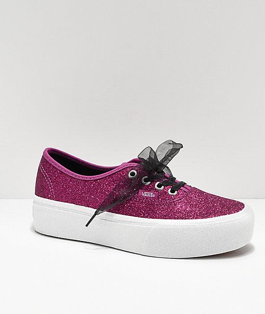 Nice Appearance Vans Authentic Glitter Skate Shoe Pink Women