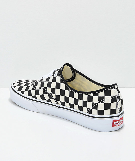 3d3ba2457bb201 Vans Authentic Golden Coast   Black Checkered Skate Shoes