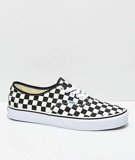 97ed76bd975 Vans Authentic Golden Coast   Black Checkered Skate Shoes
