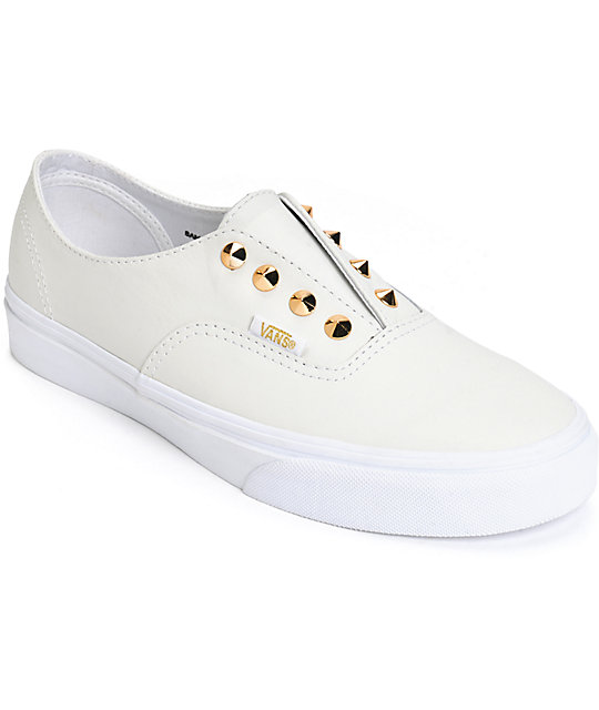 Vans Authentic Gore Stud White Leather Slip-On Shoes ...