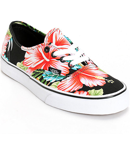 Vans Authentic Hawaiian Floral Black Shoes ...