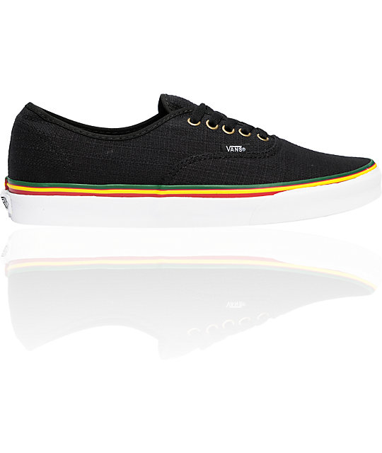 Vans Authentic Irie Hemp Rasta Black Skate Shoes  5f397db4d