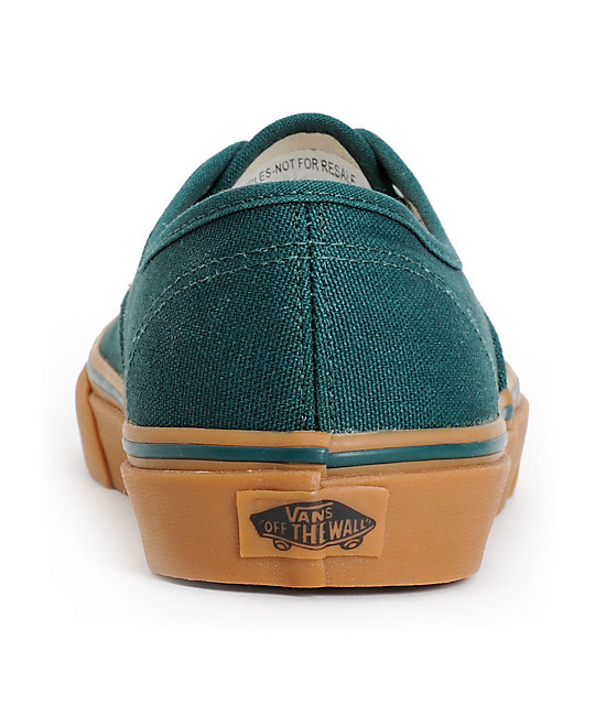 Vans Authentic June Bug Green & Gum Skate Shoes