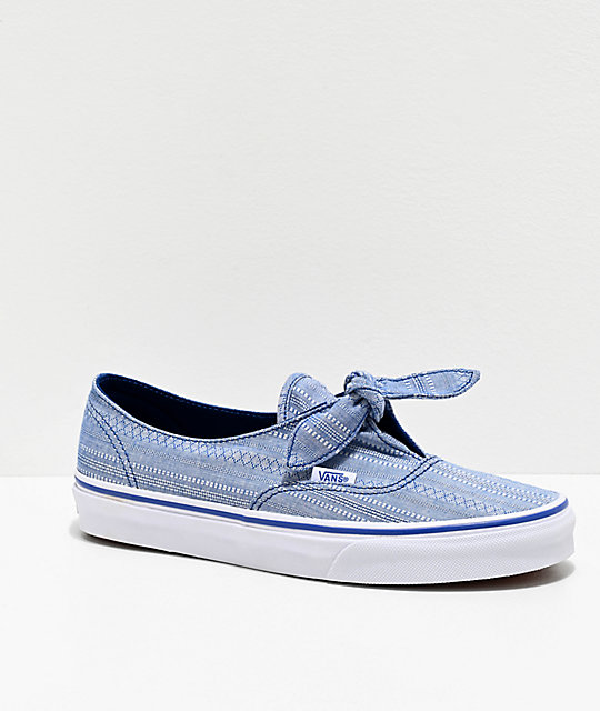 Vans Authentic Knotted Lace Chambray True Blue Skate Shoes