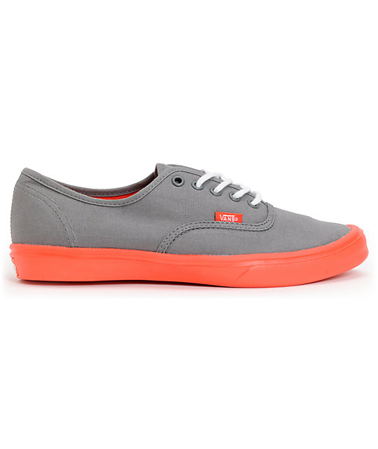 8b9599289e ... Vans Authentic Lite Grey   Coral Skate Shoes