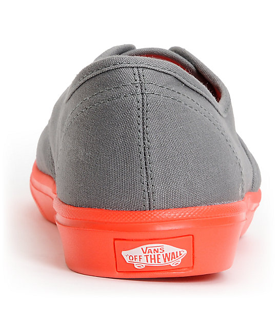 Vans Authentic Lite Grey & Coral Skate Shoes