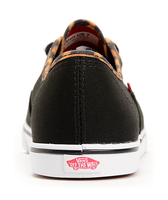 Vans Authentic Lo Pro Black & Leopard Print Shoes