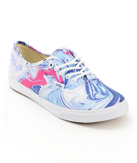 Vans Authentic Lo Pro Marble Blue Amp True White Shoes Zumiez