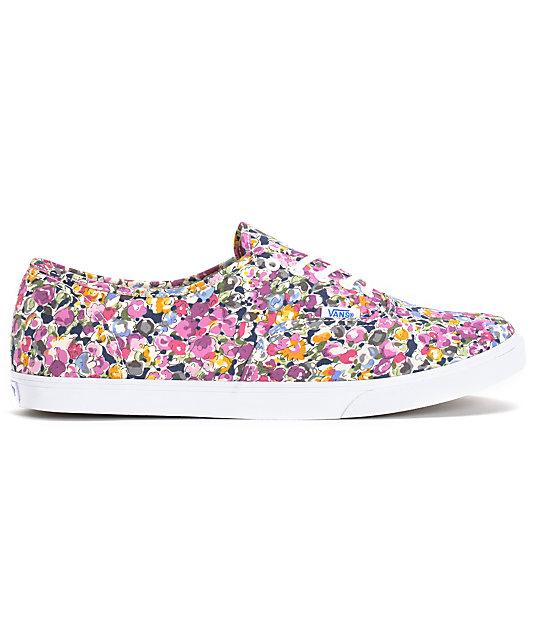 ... Vans Authentic Lo Pro Violet   White Floral Print Shoes 2631bfafa85d