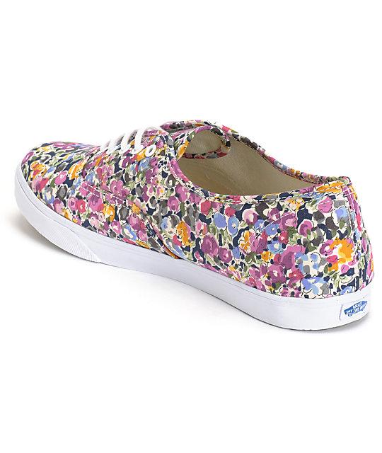 59a31c9a61 ... Vans Authentic Lo Pro Violet   White Floral Print Shoes ...