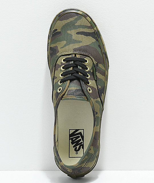 Vans Authentic Mono Olive Camo Skate Shoes