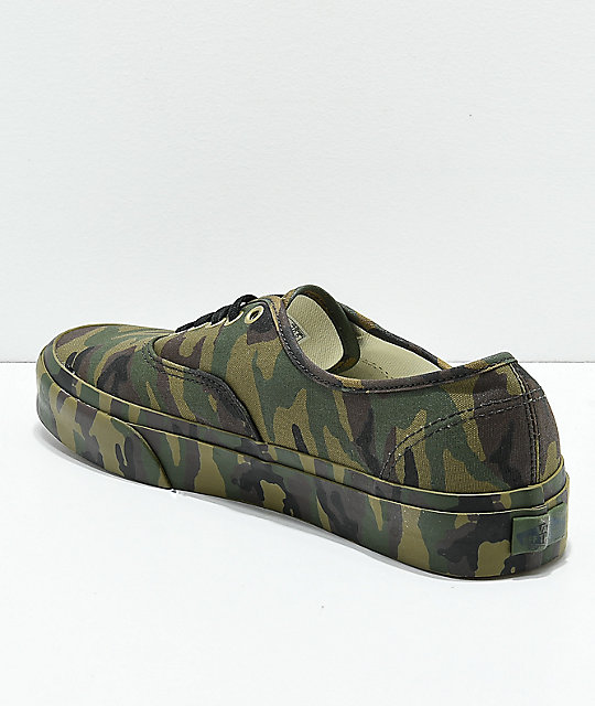 be8b651e9e7a99 ... Vans Authentic Mono Olive Camo Skate Shoes ...